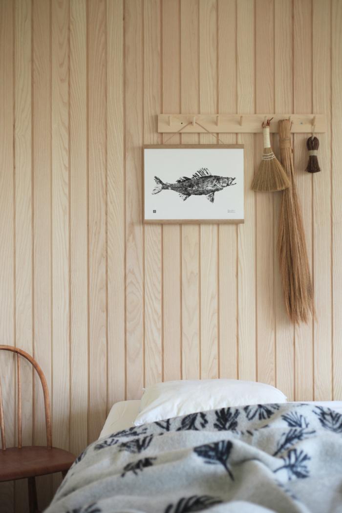 Black & White Zander poster on a wooden poster frame
