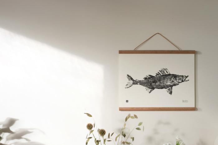 Black & White Zander art print white wooden poster frame