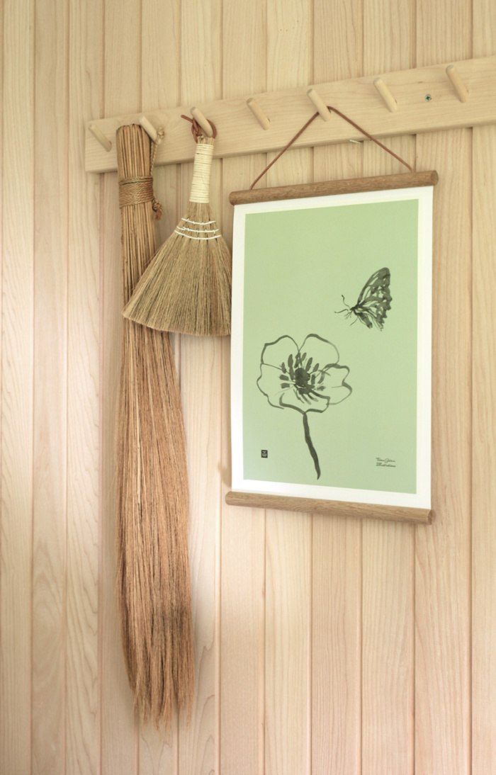 Spring green Butterfly art print on a wooden frame