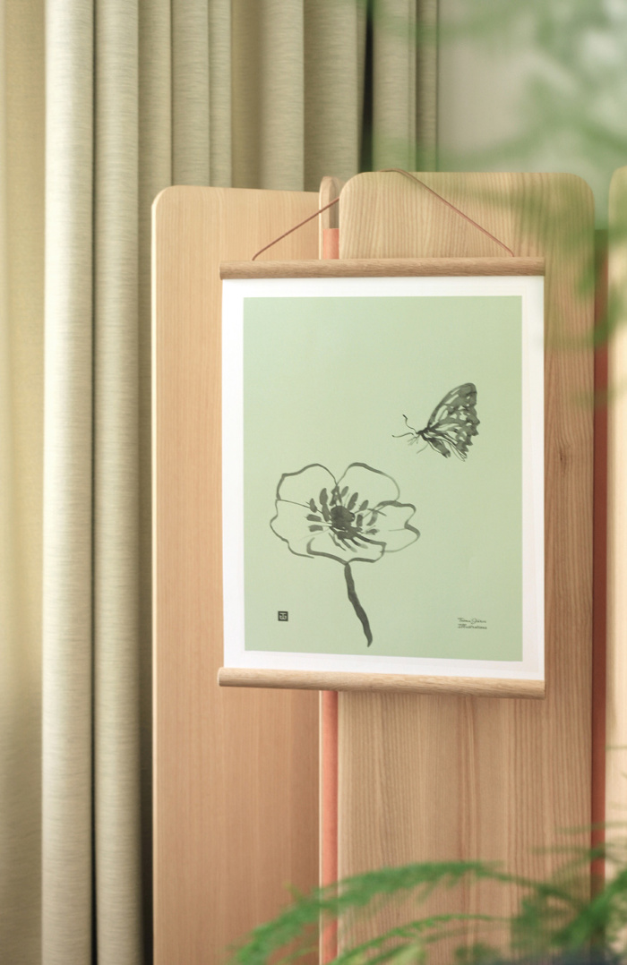 Mint green butterfly poster on a wall art on wooden frame