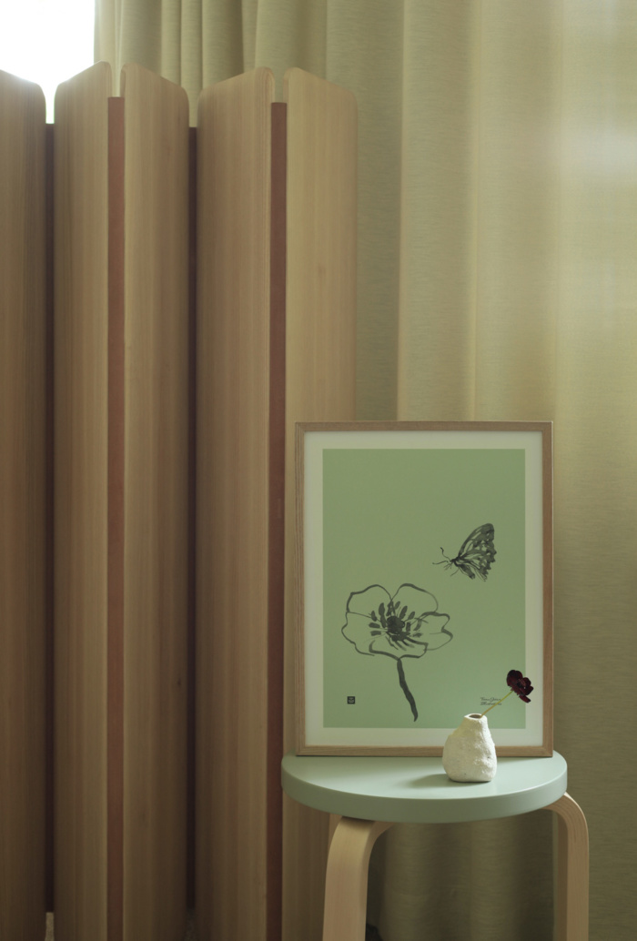 Spring green Butterfly poster on a wooden frame
