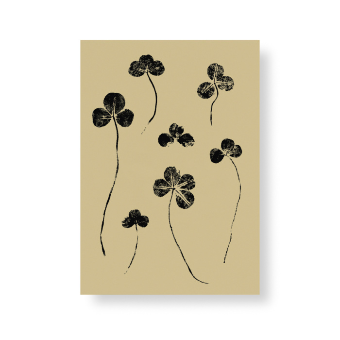 Sand colored clover mini paper Poster