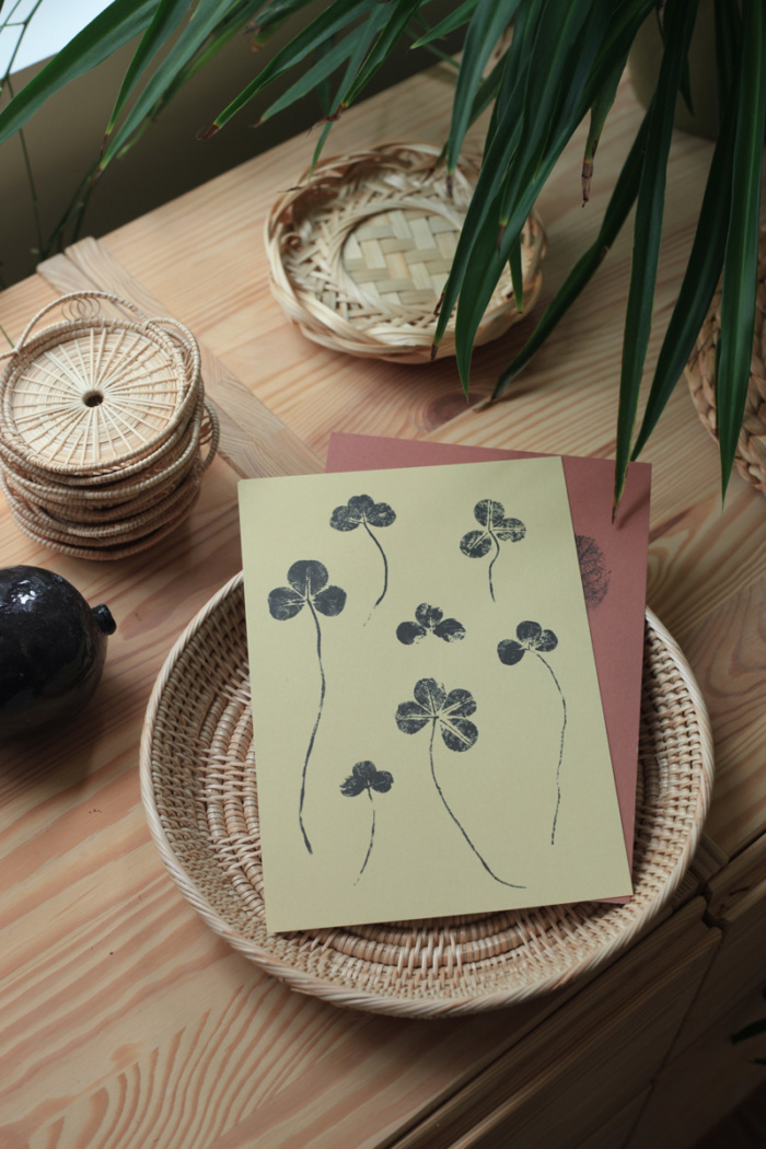 Sand colored clover mini art prints