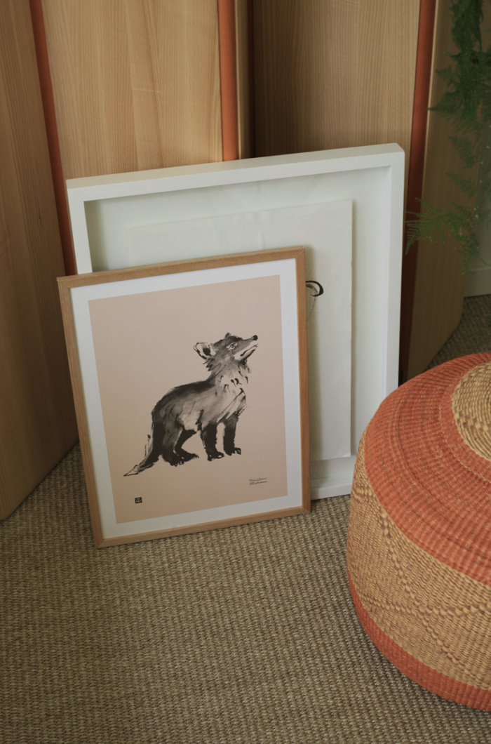Old rose fox cub wall decor on a wooden frame
