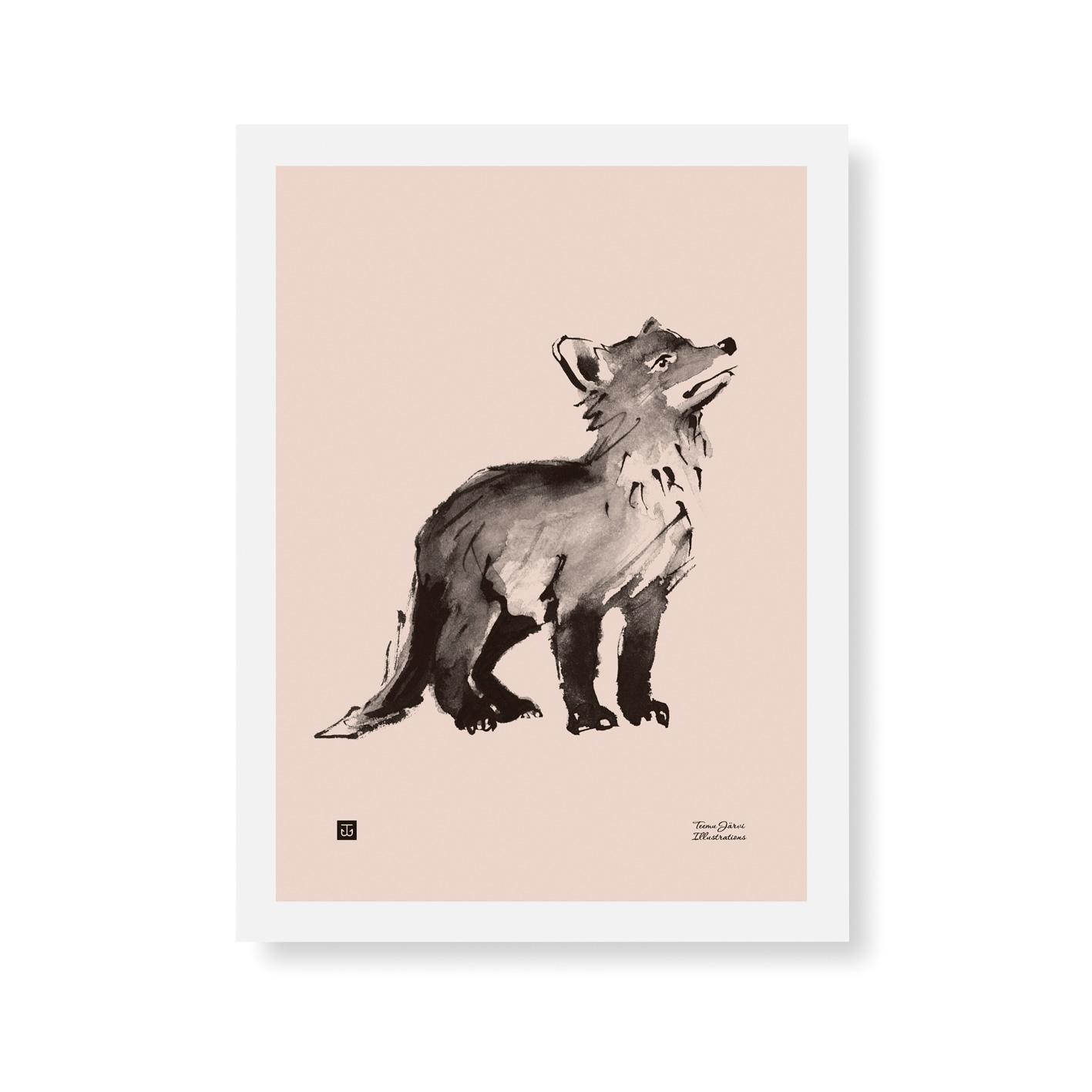 Fox cub poster -rosa