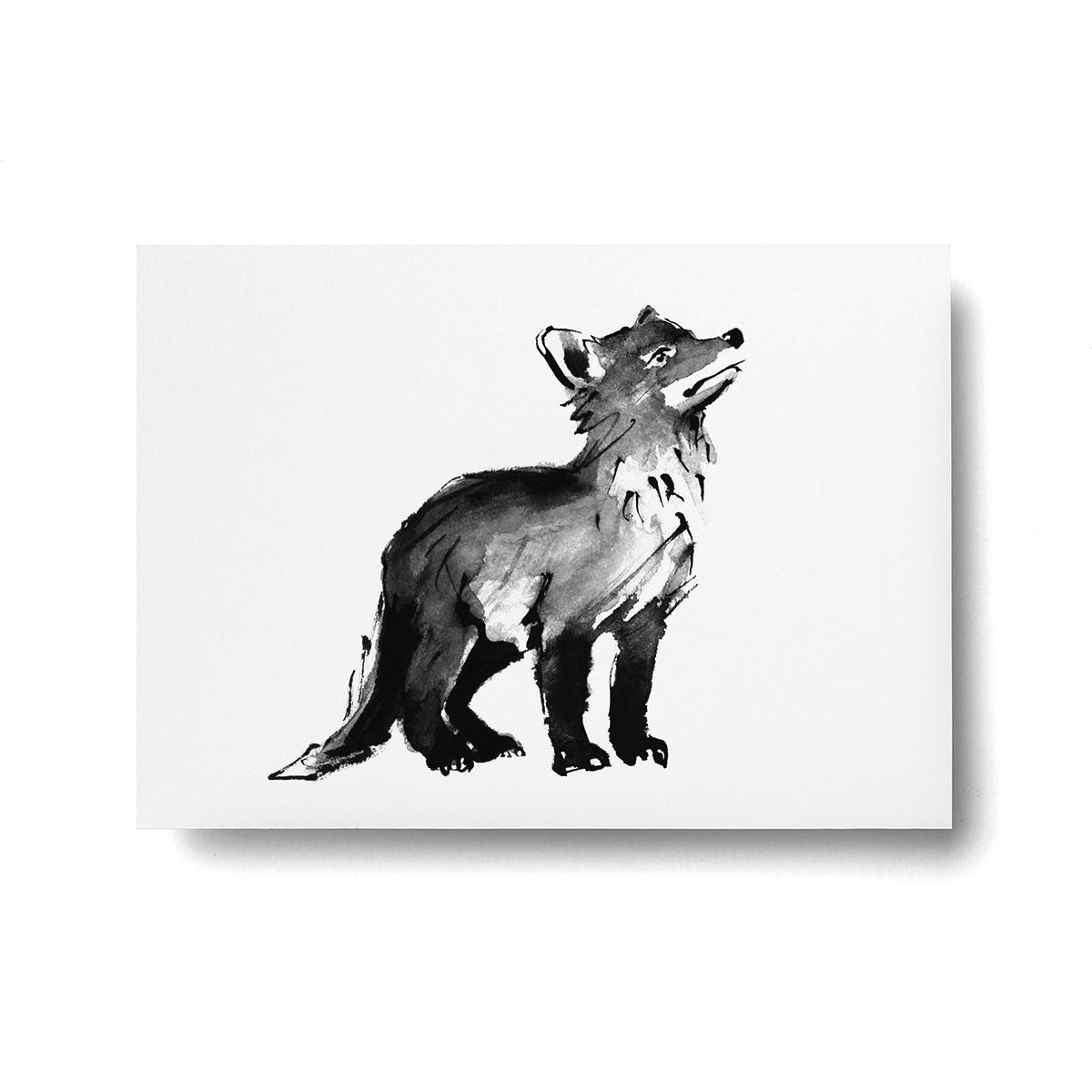 Fox cub postcard