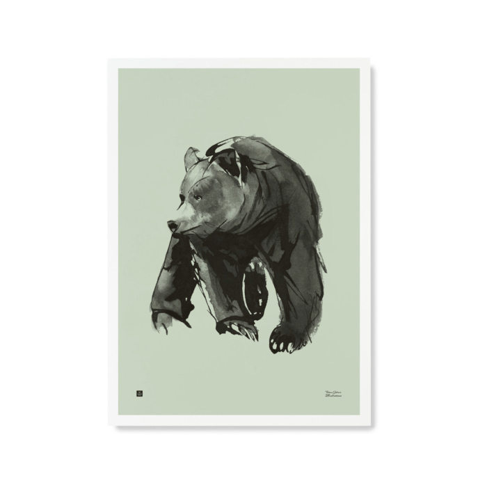 Gentle Bear Wall Art by Teemu Järvi Illustrations - spring green