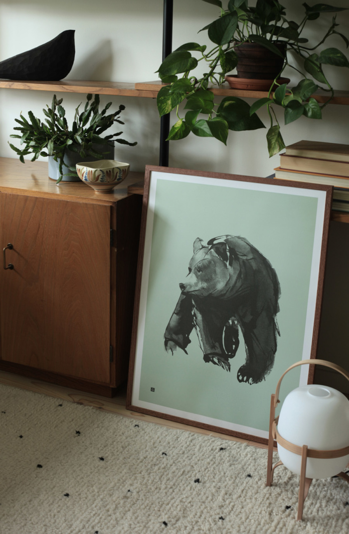 Gentle Bear Poster - large - spring green - Teemu Järvi Illustrations
