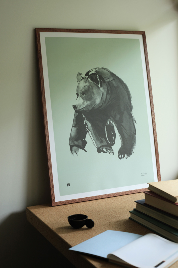 Gentle Bear Art Print - spring green - Teemu Järvi Illustrations