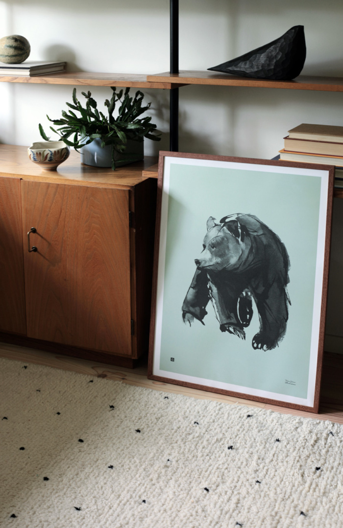 Mint green gentle bear poster in wooden frame