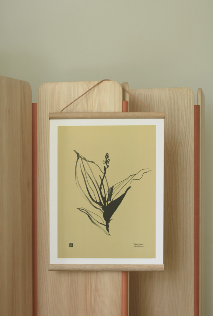 Sand colored Lily of the valley wall art with wooden frame