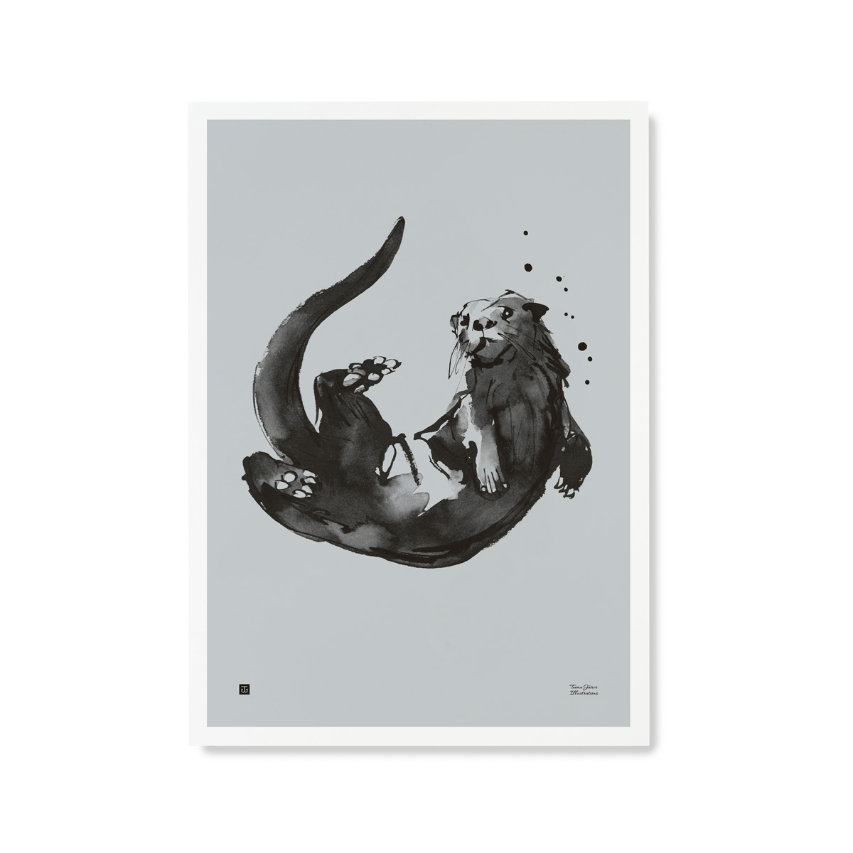 Otter poster – water blue