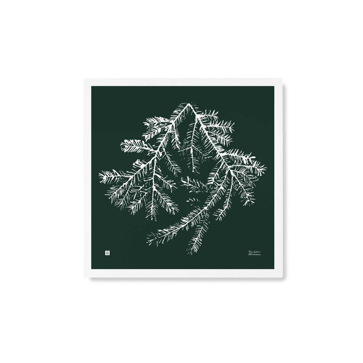 Spruce branch poster – forest green