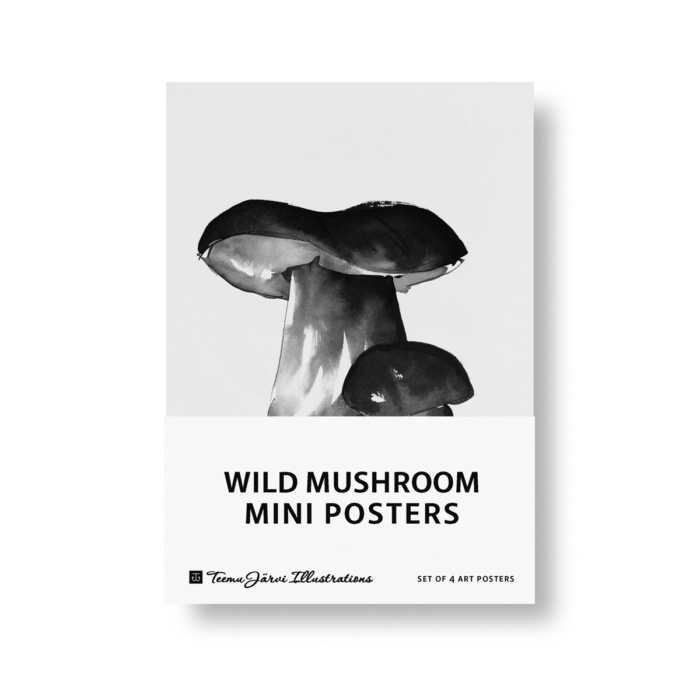 Black & White wild mushroom paper mini posters set