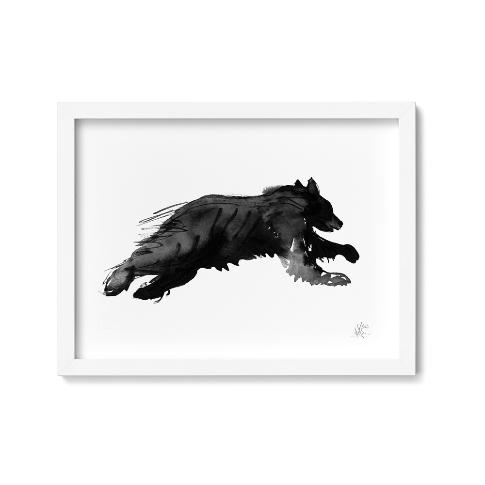 Bear on the run art print