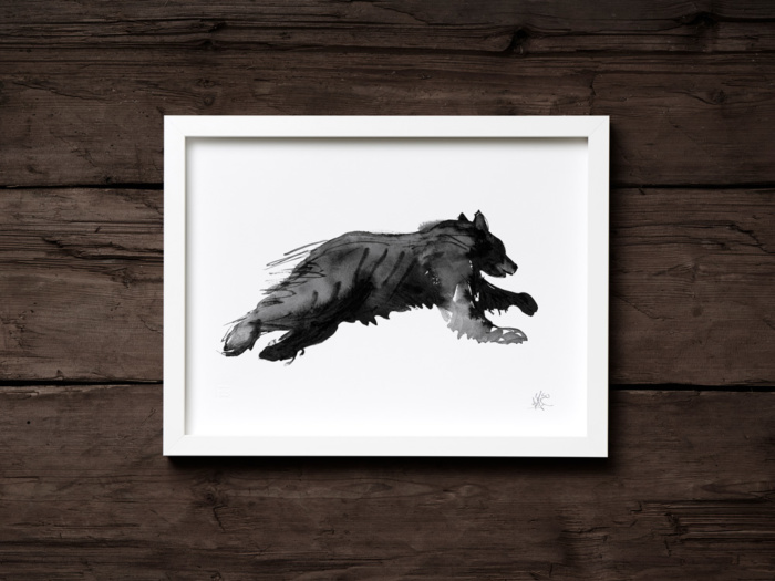 Bear on the run fine art print